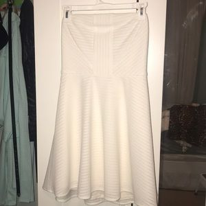 Strapless white skater dress